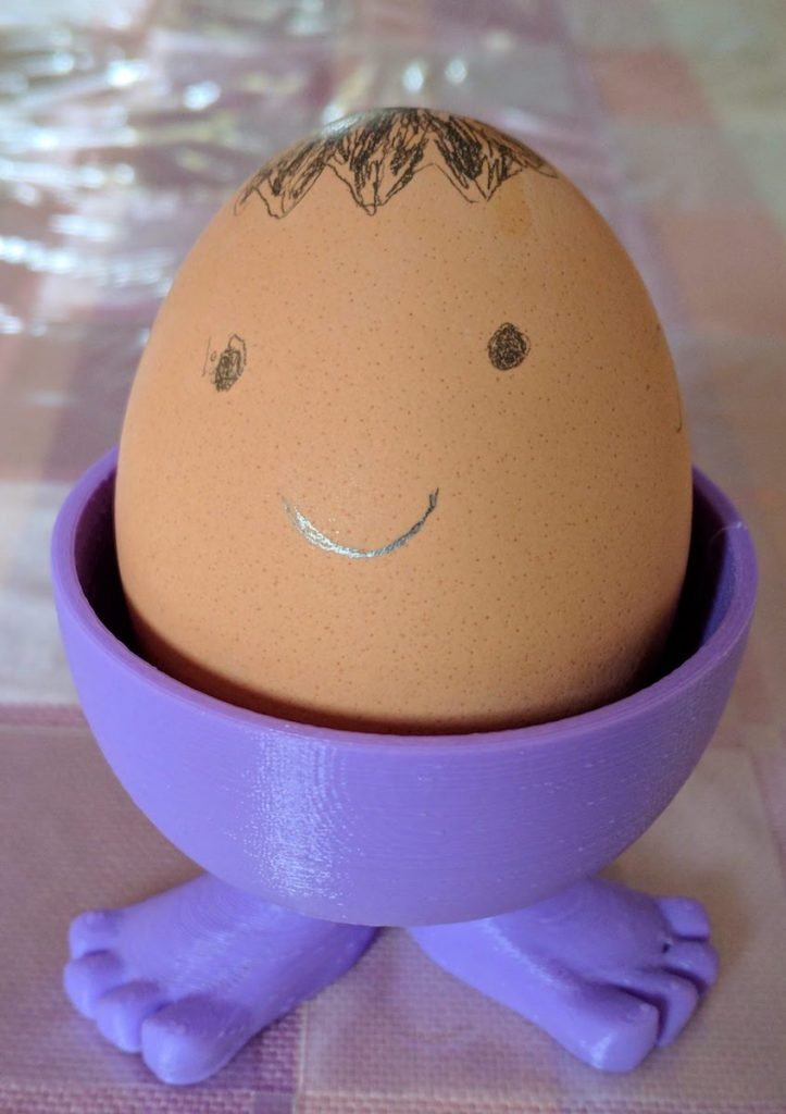 Egg Cup with Feet 3D Printed