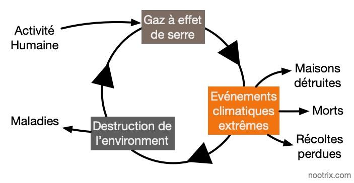 Cercle vicieux simplifié du changement climatique et des émissions de carbone