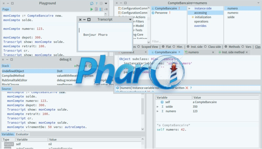 Pharo logo with Pharo 8 tools in the background
